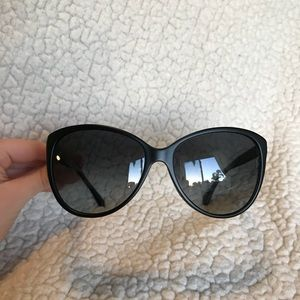 CHANEL Black Quilted Cat Eye Sunglasses